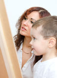 Woman and little boy drawing Royalty Free Stock Image