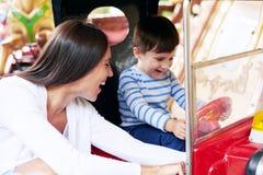 Woman with little boy having fun Royalty Free Stock Photo