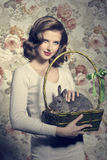 Woman and little bunny Royalty Free Stock Photos