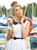 Woman with little chihuahua outdoor Stock Image