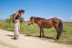 Woman and little child with horse. Brunette women with black shirt and jeans shorts with two years old blonde child with brown little horse at country in Cadiz Stock Images