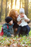 Woman with little daughter and son Stock Images