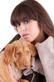 Woman and little dog Stock Image