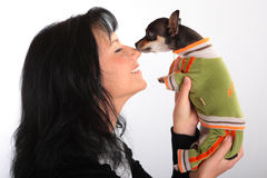 WOMAN WITH A LITTLE DOG Royalty Free Stock Images