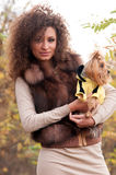 Woman and a little dog Royalty Free Stock Images