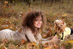 Woman and a little dog Royalty Free Stock Photo