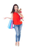 Woman with little dog yorkshire terrier Royalty Free Stock Photography
