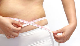 Woman with little fat  measuring her stomach. On white Stock Images