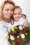 Woman and little girl with advent wreath Royalty Free Stock Photography
