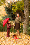 Woman and little girl in autumn park Stock Images