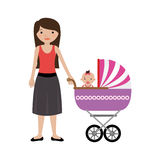 Woman with little girl in baby carriage Stock Photos