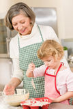 Woman and little girl baking cupcakes together Royalty Free Stock Photos