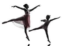 Woman and little girl  ballerina ballet dancer dancing silhouett. Woman and  little girl   ballerina ballet dancer dancing in silhouette on white background Stock Photography