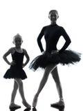 Woman and little girl  ballerina ballet dancer dancing silhouett Stock Photo