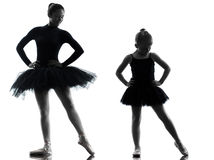 Woman and little girl  ballerina ballet dancer dancing silhouett Stock Photography
