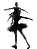 Woman and little girl  ballerina ballet dancer dancing silhouett Royalty Free Stock Photos