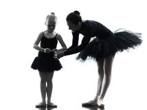 Woman and little girl  ballerina ballet dancer Royalty Free Stock Images