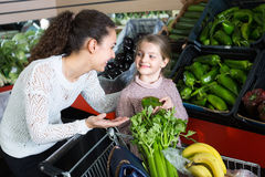 Woman and little girl buying veggies Stock Photos