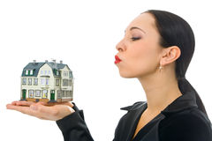 Woman with little house Stock Photos