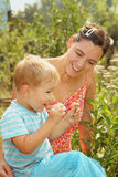 Woman with a little son admires daisies Royalty Free Stock Image
