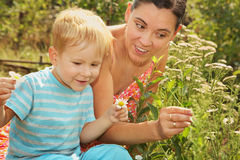 Woman with a little son admires daisies Stock Photography