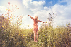 A woman lives in harmony  and respect with nature Royalty Free Stock Photos