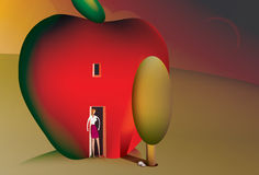 Woman living in an apple house. Illustration of a woman living in an apple house standing at the front door Stock Photos