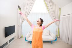 Woman in living room Royalty Free Stock Images