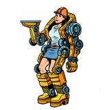 Woman loader exoskeleton stock illustration