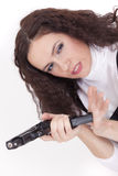 Woman loading gun Royalty Free Stock Images