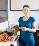 Woman with lobster Royalty Free Stock Images