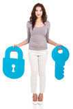 Woman lock key Royalty Free Stock Image