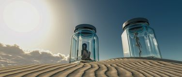 woman locked in a glass boat in the desert stock photo