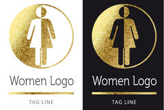 Woman logo in gold. Woman logo in bright gold Royalty Free Stock Photo