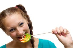 Woman with lolipop Stock Photography