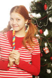 Woman with lolipop and tree. Redhair woman with lolipop and tree Stock Image