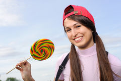 Woman with lollipop Stock Photo
