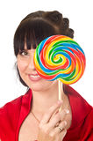 Woman with lollipop Royalty Free Stock Image