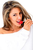 Woman with a lollipop Royalty Free Stock Image