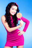 Woman with lollipop Royalty Free Stock Images