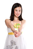 Woman and lollipop Royalty Free Stock Photos