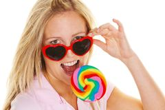Woman with lollipop Schlecker Royalty Free Stock Images
