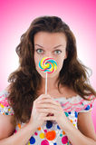 Woman with lollipops isolated Royalty Free Stock Photography