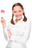 Woman with lolly Royalty Free Stock Images