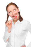 Woman with lolly Stock Photo