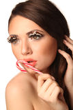 Woman with Lollypop Royalty Free Stock Photos