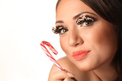 Woman with Lollypop Stock Photos