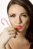 Woman with Lollypop Royalty Free Stock Image