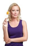 Woman with lollypop Royalty Free Stock Photo