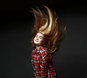 Woman long amazing hair in air Royalty Free Stock Images